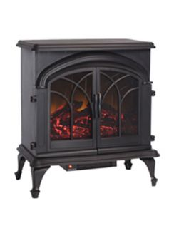 Indoor Outdoor Patio Fox Hill Electric Fireplace Traditional Wood Stove Black