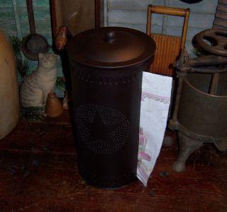 Primitive Rustic Antique Vtg Style Star Punched Tin Paper Towel Holder