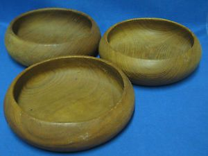 Hand Carved Teak Wood Wooden Individual Salad Bowls Set 3 Made Thailand VGUC