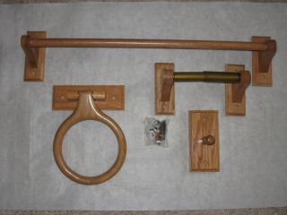 Wood Towel Bar Ring Toilet Paper Holder Hook Oak
