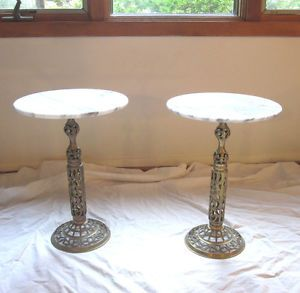 Pair Hollywood Regency Brass Filigree Pedestal Marble Top Plant Stands Tables
