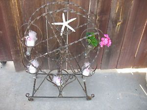 Wrought Iron Plant Stand Rustic 24inch Ferris Wheel Turning