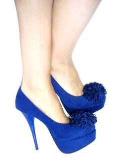 New Blue Suede Platform Closed Toe Heels Pumps Shoes