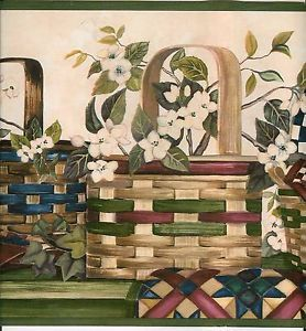 Country Baskets Apples Quilts Crock Wallpaper Border
