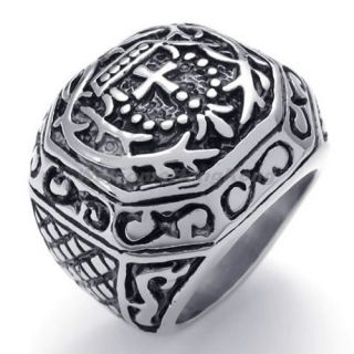 Mens Biker Vintage Stainless Steel Cross Ring Black Silver All Sizes AA22231