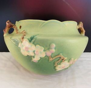 "Vintage 1940s Roseville Art Pottery ""Apple Blossom"" Hanging Vase Planter"