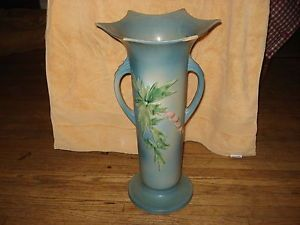 "Old Antique Roseville 18"" Art Pottery Blue Bleeding Heart Floor Vase 977"