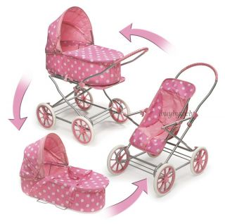 Kids Pink Dots Carriage Toy Doll Pram Stroller 3 in 1