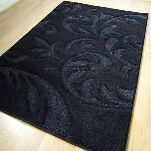 Sparkling Glitter Rugs in Black Shine Modern Damask Rug 120x170cm 0120 Plant