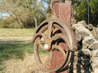 Old Cast Iron Water Well Pulley Wheel