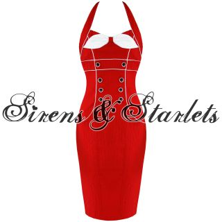 Robe Crayon Femme Voodoo Vixen Annees 50 Vintage Rouge Rockabilly Soiree Moulant