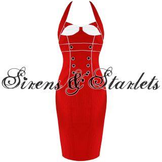 Robe Crayon Femme Voodoo Vixen Annees 50 Vintage Rouge Rockabilly Soiree Moulant
