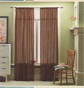 2 Casual Home Window Curtain Brown Linen Sheer NIP