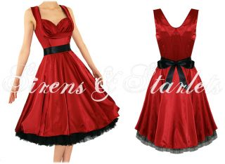 Robe Femme Satin Soiree Vintage Rouge Pinup Annee 50 BAL Prom Retro