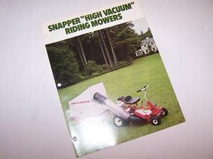 Snapper Riding Lawn Mower Comet HV High Vacuum Color Sales Brochure Rider
