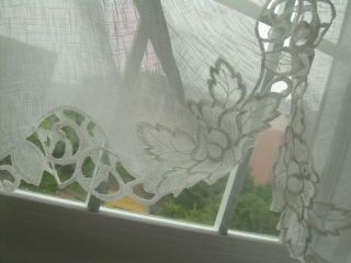 French Country Embroidered Balloon Shade Sheer Voile Cafe Kitchen Curtain 004