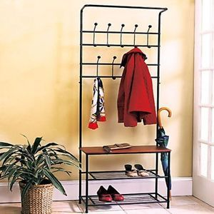 Entryway Bench Seat Storage Shoe Shelf Hat Coat Umbrella Rack Organizer Stand