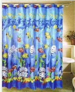 Tropical Fish Design Shower Curtain Shower Hooks New