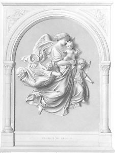 Protecting Guardian Angels Baby Antique 1852 Print of Statue Sculpture RARE
