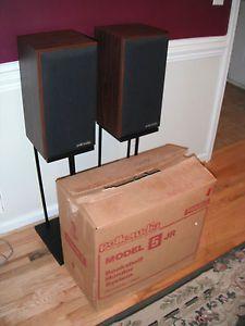 Vintage Pair Polk Audio 5 Jr 5JR Monitor Speakers w Original Box Stands w W