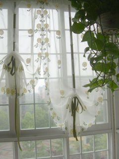 French Country Embroidered Balloon Shade Sheer Voile Cafe Kitchen Curtain 003