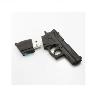 4 or 8 or 16 or 32 or 64GB Black Gun USB2 0 Flash Memory Stick Pen Drive Thumb