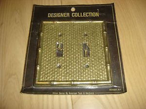 Antique Metal with Basket Weave Design Double Light Switch Plate Outlet Cover