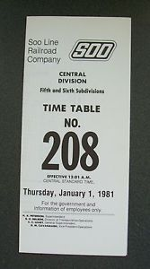 Soo Line Railroad Employee Time Table Central Region 5 6 Subs 208 1 1 1981