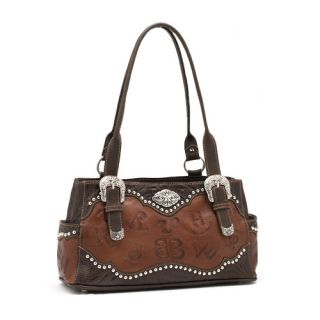 Cattle Brands Purse Western Leather Brown Tote Handbag