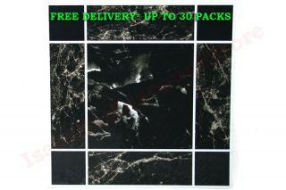 Self Adhesive Vinyl Floor Tiles Marble Effect Black 4SQFT Set of 4 Free Delivery