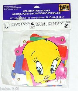 Looney Tunes Tweety Silvester Bugs Bunny H Birthday Banner 5ft Long