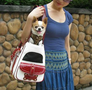 White Cowboy Style w Faux Red Leather Pet Carrier Small Dog Purse Open Tote Bag