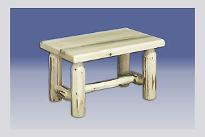 Pine Log Footstool Rustic Bench Wood Footstools