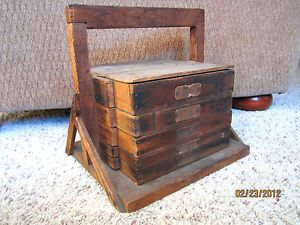 Antique Primitive Wood Metal Egg Carrier Basket Farm Crate w Removable Shelves
