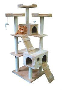 "Cat Tree House 73"" Scratching Post Large Pet Kitten Condo Furniture Beige 6ft"