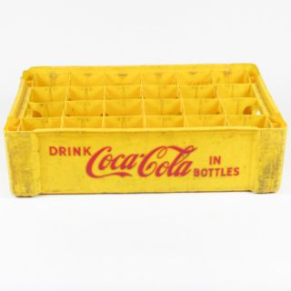 Vintage Yellow Plastic Embossed Coca Cola Bottle Crate Carrier
