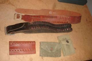 Bucheimer Hunter Rocky Mountain USGI Leather Cartridge Belts Carriers Pouches