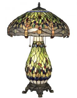 Handcrafted Dragonfly Styled Tiffany Style Stained Glass Table Lamp w Lit Base