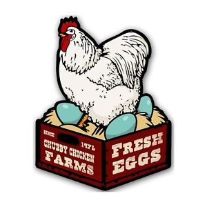 """Chubby Chicken Farms Fresh Eggs Retro Shaped Metal Sign 14x18"""" Chicken Coop"""