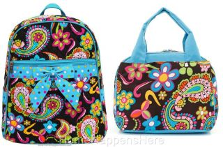 Blue Paisley Matching School Quilted Backpack Lunchbag Lunch Box Lunchbox Bag