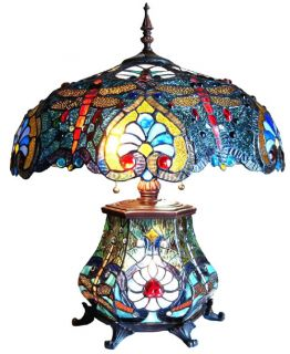 Jeweled Dragonfly Stained Glass Table Lamp Lighted Base