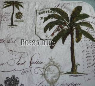 Raymond Waites King Quilt Shams Palm Tree Tropical Cottage Paris French Script