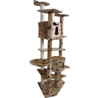 "New 80"" Cat Tree Condo Furniture Scratch Post Pet House Beige Navy Beige Paws"