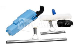 Window Cleaning Washing Belt Set Up with Squeegees