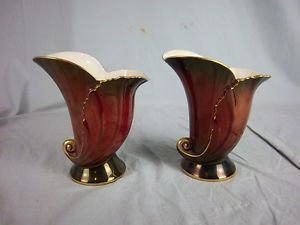 A Pair of 1920's Carlton Ware Rouge Royale Decorative Vases