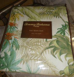 Tommy Bahama Rainforest Tropical Aqua Orange Green 3pc Full Queen Quilt Set