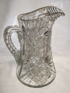 """10"""" Cut Glass Water Pitcher Very Heavy"""