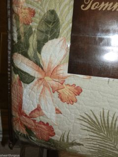 Tommy Bahama New Full Queen Quilt Tropical Orchid Palm Fronds Ocean Feel Beach