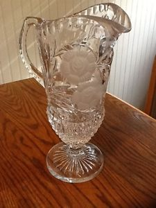 Antique Vintage Cut Glass Flower Crystal Water Pitcher