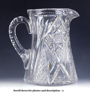 Signed Hawkes American Brilliant Period Cut Glass Water Pitcher